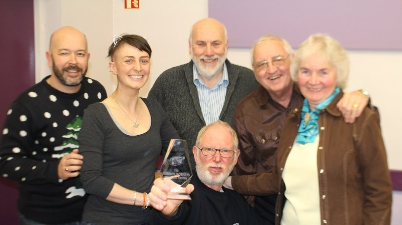 "SCMM TEAM ""C"" with the trophy they won at Midland Movie Makers Midsummer Madness in June 2016 for their film ""The Awful Truth"".  Julian Austwick, Fiona Dunn, Ian Lane, Andy Wills (seated), Arthur Fletcher, Ann Fletcher. Watch ""The Awful Truth"" here."
